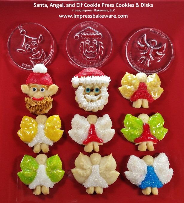 Santa, Angel, & Elf Cookie Press Cookies & Disks © 2015 Impress! Bakeware, LLC Spritz 1