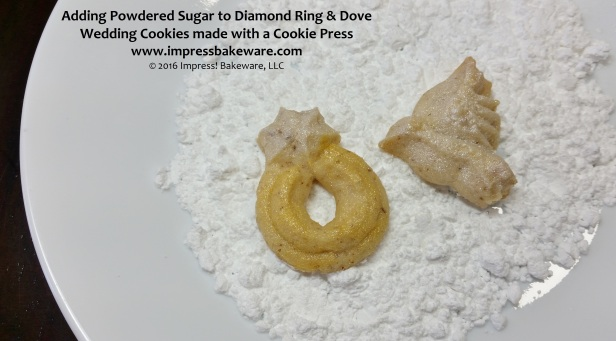 Adding Powdered Sugar to Diamond Ring & Dove Wedding Cookies made with a Cookie Press © 2016 Impress! Bakeware, LLC.jpg