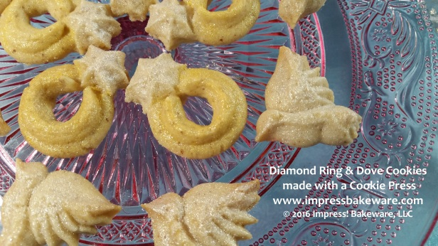 Diamond Ring & Dove Cookies made with a Cookie Press © 2016 Impress! Bakeware, LLC.jpg