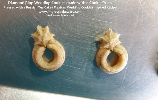 Diamond Ring Wedding Cookies made with a Cookie Press © 2016 Impress! Bakeware, LLC.jpg