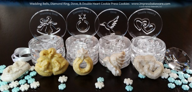 Wedding Bells, Diamond Ring, Dove, & Double Heart Cookie Press Cookies  © 2016 Impress! Bakeware, LLC