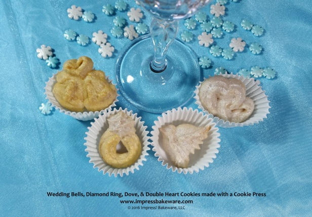 Wedding Bells, Diamond Ring, Dove, & Double Heart Cookies made with a Cookie Press   © 2016 Impress! Bakeware, LLC