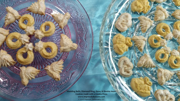 Wedding Bells, Diamond Ring, Dove, & Double Heart Cookies made with a Cookie Press  © 2016 Impress! Bakeware, LLC.jpg