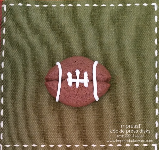 Chocolate Football Sandwich Cookies © 2016 Impress! Bakeware, LLC   cookie press spritz.jpg