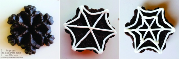 Chocolate Halloween Spider Web Cookie Press Spritz Cookies  © 2016 Impress! Bakeware, LLC.jpg