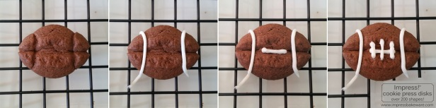 Decorating Chocolate Football Sandwich Cookies  © 2016 Impress! Bakeware, LLC cookie press spritz.jpg