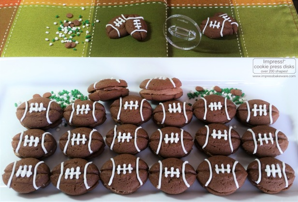 Double Chocolate Football Sandwich Cookies © 2016 Impress! Bakeware, LLC cookie press spritz L.jpg
