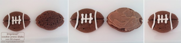 Making Chocolate Football Sandwich Cookies © 2016 Impress! Bakeware, LLC cookie press spritz ps.jpg