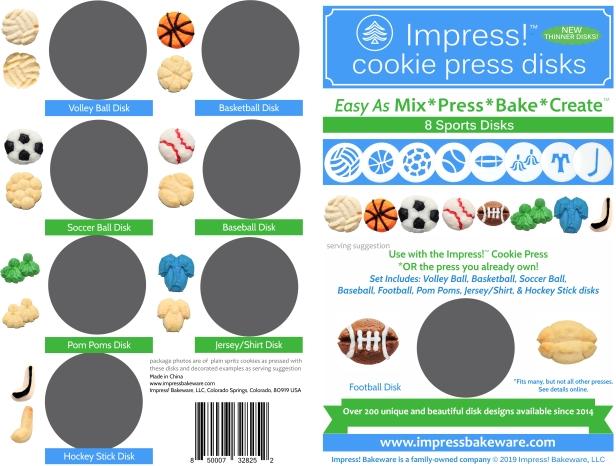 Sports Cookie Press Disk Set spritz © 2019 Impress! Bakeware, LLC