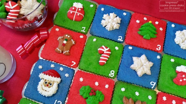 Advent Calendar Cookie Display Almond Spritz © 2016 Impress! Bakeware, LLC cookie press c.jpg