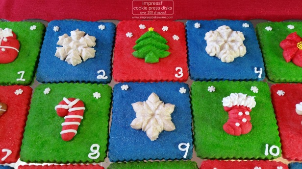Advent Calendar Cookie Display Almond Spritz © 2016 Impress! Bakeware, LLC cookie press k.jpg
