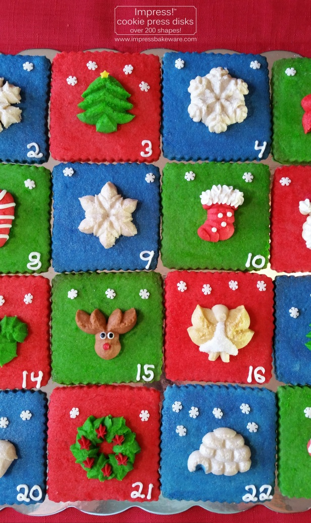 Advent Calendar Cookie Display Almond Spritz © 2016 Impress! Bakeware, LLC cookie press pb pn.jpg