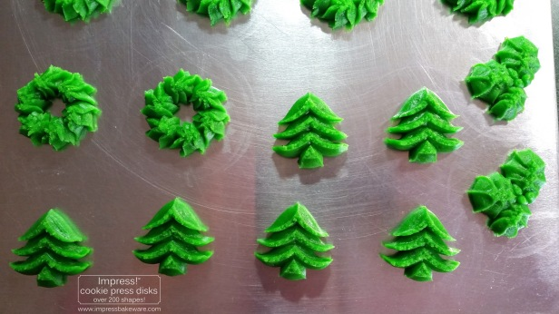 Christmas Tree Holly and Wreath Almond Spritz Cookies © 2016 Impress! Bakeware, LLC cookie press.jpg