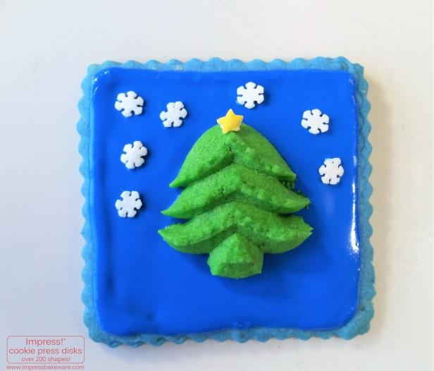 Christmas Tree Spritz Cookie on Cutout Cookie for Advent Calendar Display © 2016 Impress! Bakeware, LLC  cookie press.jpg