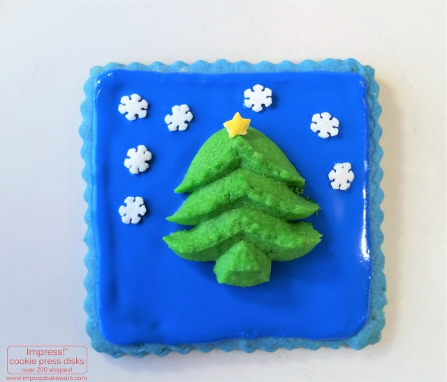 Christmas Tree Spritz Cookie on Cutout Cookie for Advent Calendar Display © 2016 Impress! Bakeware, LLC  cookie press.jpg