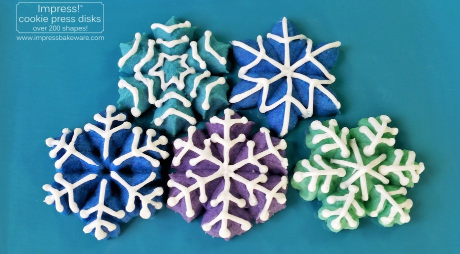 Colorful Iced Snowflake Spritz Cookies