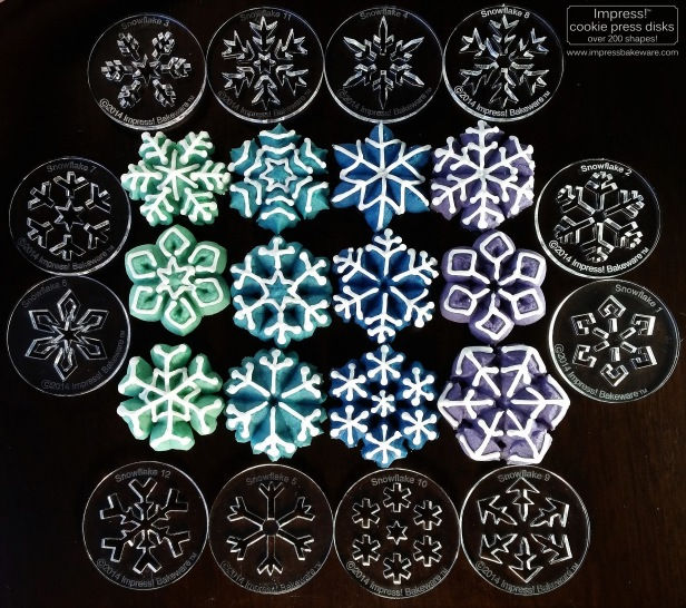 Colorful Iced Snowflakes Spritz Cookies © 2016 Impress! Bakeware, LLC i cookie press disks.jpg