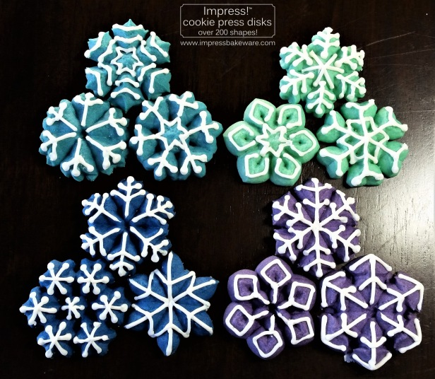 Colorful Iced Snowflakes Spritz Cookies © 2016 Impress! Bakeware, LLC j cookie press.jpg