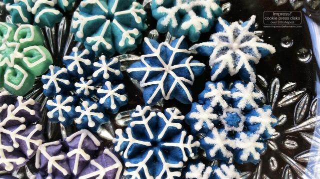 Colorful Iced Snowflakes Spritz Cookies © 2016 Impress! Bakeware, LLC k cookie press.jpg