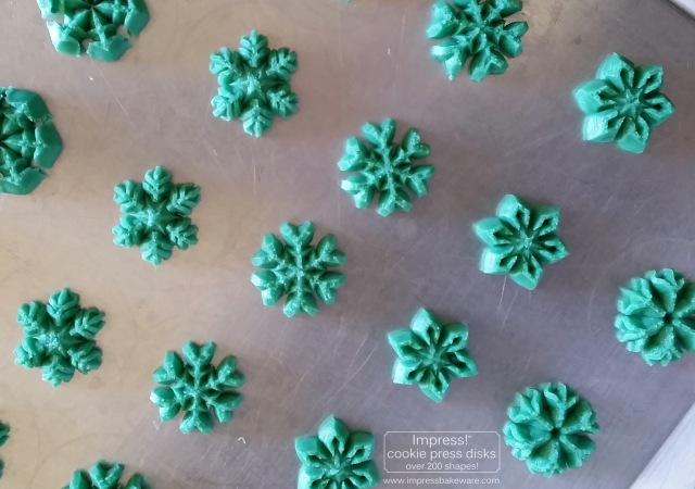 Colorful Snowflakes Spritz Cookies © 2016 Impress! Bakeware, LLC a cookie press.jpg