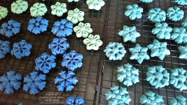 Colorful Snowflakes Spritz Cookies © 2016 Impress! Bakeware, LLC r cookie press.jpg
