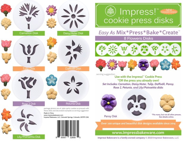 Flowers Cookie Press Disk Set spritz © 2019 Impress! Bakeware, LLC