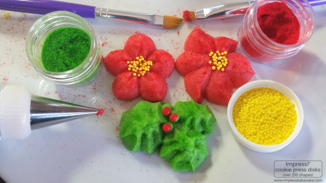 Holly Leaves & Poinsettia Spritz Cookies © 216 Impress! Bakeware, LLC cookie press a.jpg