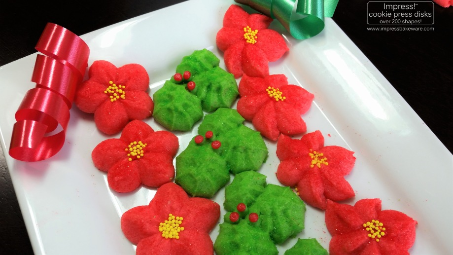 Holly Leaves & Poinsettias Spritz Cookies