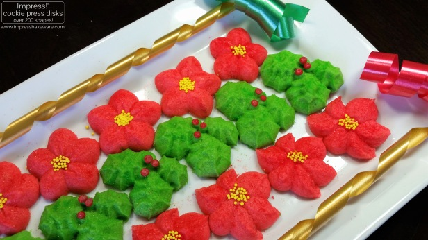 Holly Leaves & Poinsettia Spritz Cookies © 216 Impress! Bakeware, LLC cookie press d.jpg