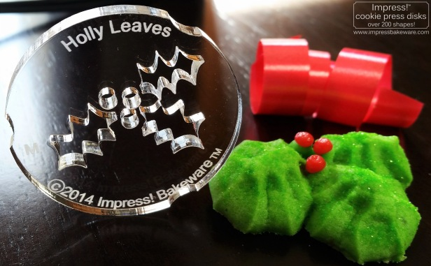 Holly Leaves Spritz Cookies © 216 Impress! Bakeware, LLC cookie press d.jpg