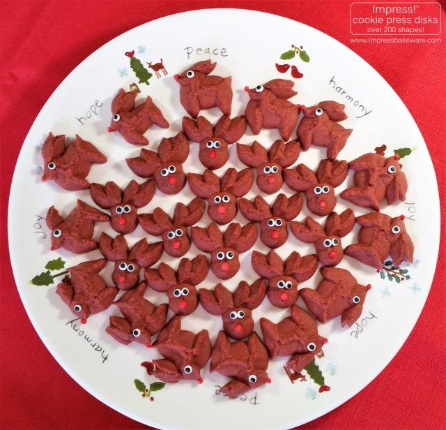 Red Velvet Reindeer Cookie Press Cookies © 2016 Impress! Bakeware, LLC spritz e.jpg