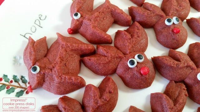 Red Velvet Reindeer Cookie Press Cookies © 2016 Impress! Bakeware, LLC spritz k.jpg