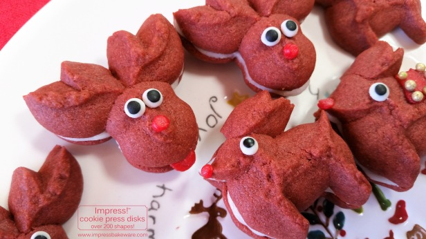 Red Velvet Reindeer Cookie Press Sandwich Cookies © 2016 Impress! Bakeware, LLC spritz d.jpg