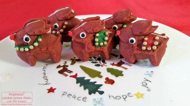 Red Velvet Reindeer Cookie Press Sandwich Cookies © 2016 Impress! Bakeware, LLC spritz f.jpg