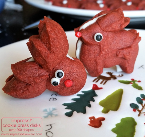 Red Velvet Reindeer Cookie Press Sandwich Cookies © 2016 Impress! Bakeware, LLC spritz h.jpg