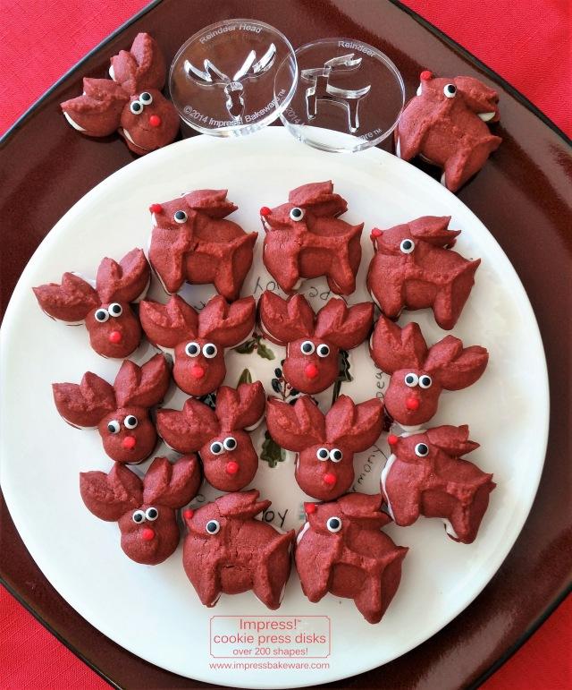 Red Velvet Reindeer Cookie Press Sandwich Cookies © 2016 Impress! Bakeware, LLC spritz r.jpg