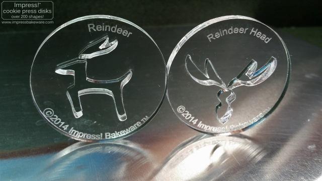 Reindeer cookie press disks making red velvet reindeer © 2016 Impress! Bakeware, LLC b.jpg