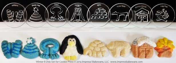Winter 8 Disk Set for Cookie Press © 2014 Impress! Bakeware, LLC spritz.jpg