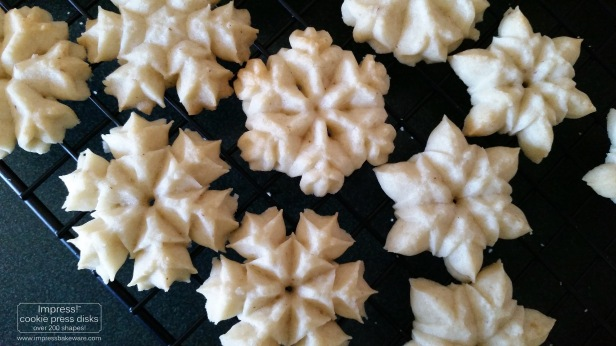 Almond Snowflake Spritz Cookies & Disks © 2016 Impress! Bakeware, LLC cookie press f.jpg