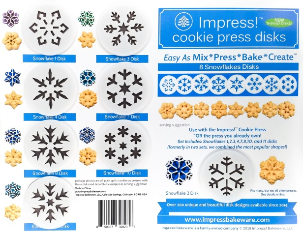 Snowflakes Cookie Press Disk Set spritz © 2019 Impress! Bakeware, LLC.jpg