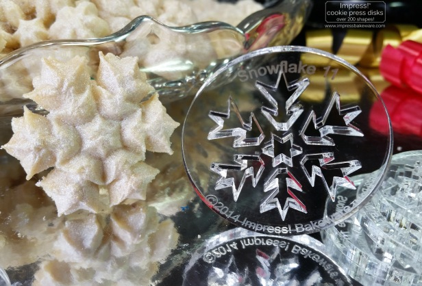 Sparkling Snowflake Almond Spritz Cookies and Cookie Press Disks © 2016 Impress! Bakeware, LLC cu.jpg