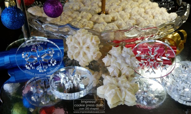 Sparkling Snowflake Almond Spritz Cookies and Cookie Press Disks © 2016 Impress! Bakeware, LLCjd.jpg