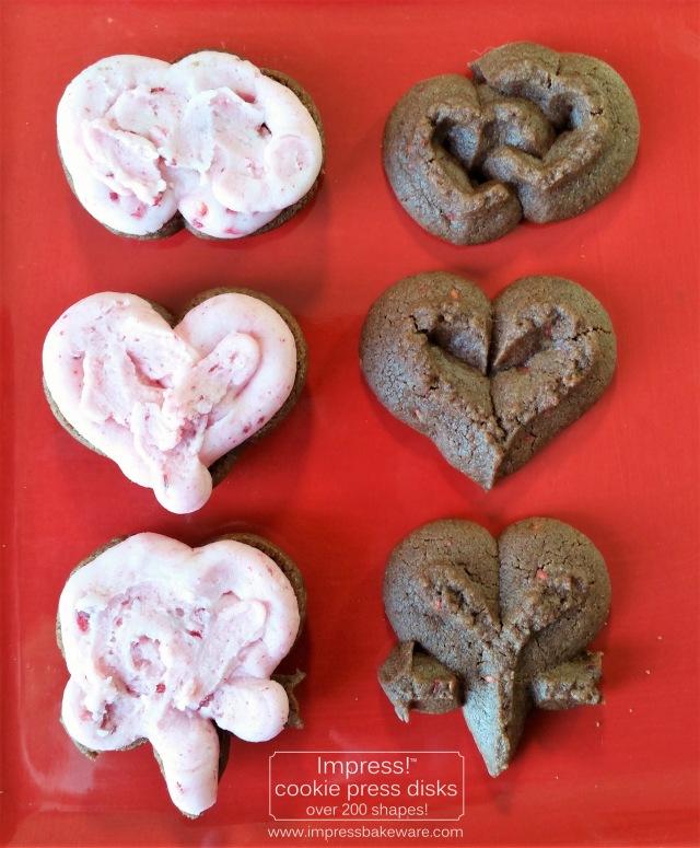 Chocolate Raspberry Valentine's Sandwich Cookies cookie press spritz disks f © 2017 Impress! Bakeware, LLC.jpg