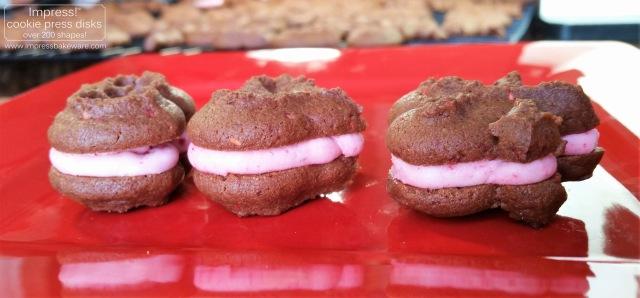 Chocolate Raspberry Valentine's Sandwich Cookies cookie press spritz disks g © 2017 Impress! Bakeware, LLC.jpg