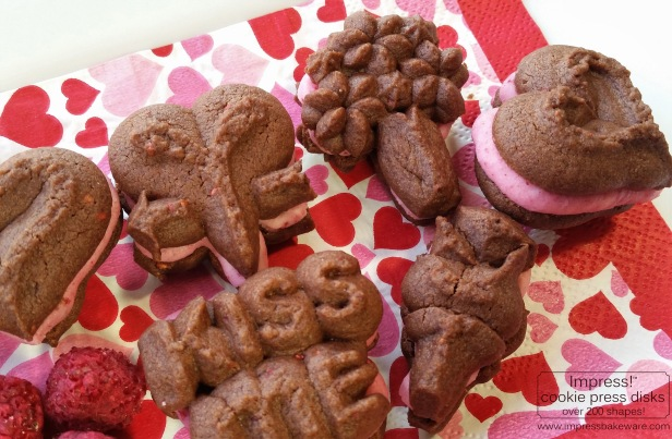 Chocolate Raspberry Valentine's Sandwich Cookies cookie press spritz v © 2017 Impress! Bakeware, LLC .jpg