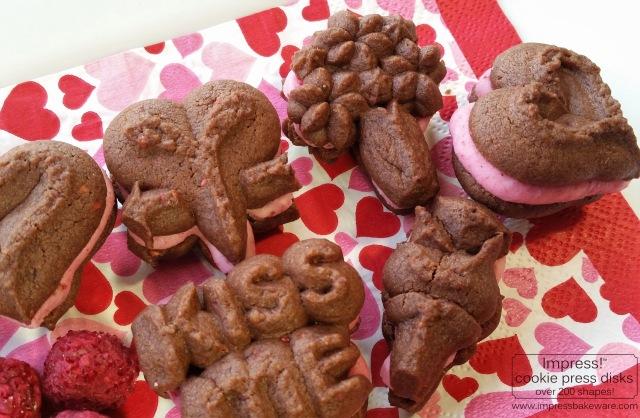 Chocolate Raspberry Valentine's Sandwich Cookies cookie press spritz v © 2017 Impress! Bakeware, LLC .jpg