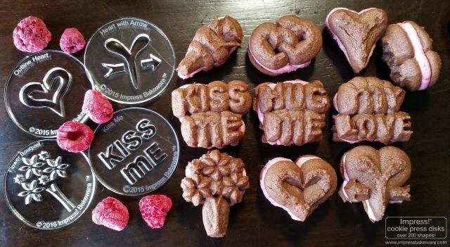 Chocolate Raspberry Valentine's Sandwich Cookies & Disks cookie press spritz m © 2017 Impress! Bakeware, LLC.jpg
