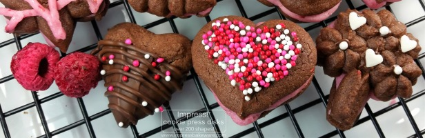 Chocolate Raspberry Valentine's Sandwich Cookies p cookie press spritz © 2017 Impress! Bakeware, LLC.jpg