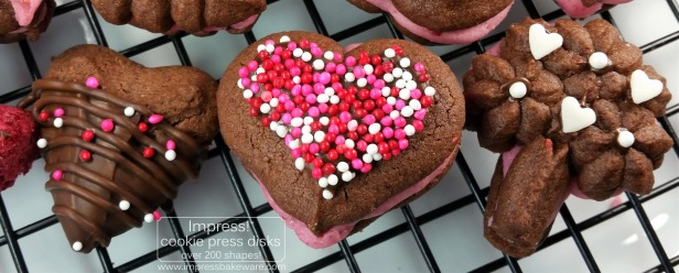 Chocolate Raspberry Valentine's Sandwich Cookies q cookie press spritz disks © 2017 Impress! Bakeware, LLC.jpg