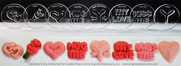 Valentine's Day 8 Disk Set for Cookie Press © 2015 Impress! Bakeware, LLC spritz.jpg